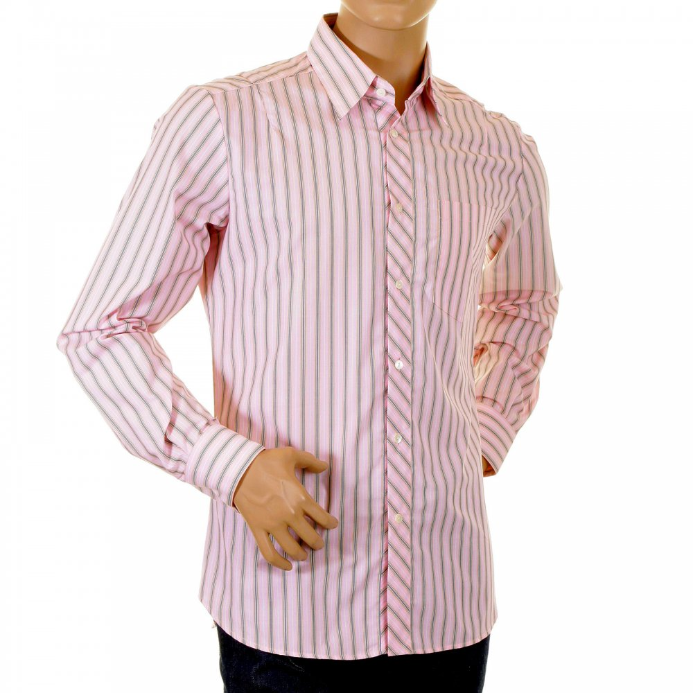 ... D&G DOLCE & GABBANA Pink Striped Fitted Long Sleeve Shirt ...