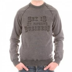Washed Charcoal Long Sleeve Slim Fit Sweatshirt