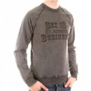 D&G DOLCE & GABBANA Washed Charcoal Long Sleeve Slim Fit Sweatshirt