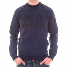 Washed Indigo Long Sleeve Slim Fit Sweatshirt