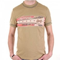 Washed Khaki Crew Neck Short Sleeve Slim Fit T-Shirt