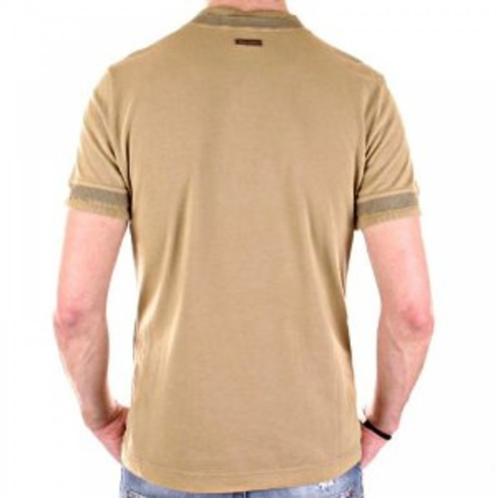8597b216 ... D&G DOLCE & GABBANA Washed Khaki Crew Neck Short Sleeve Slim Fit T-Shirt  ...