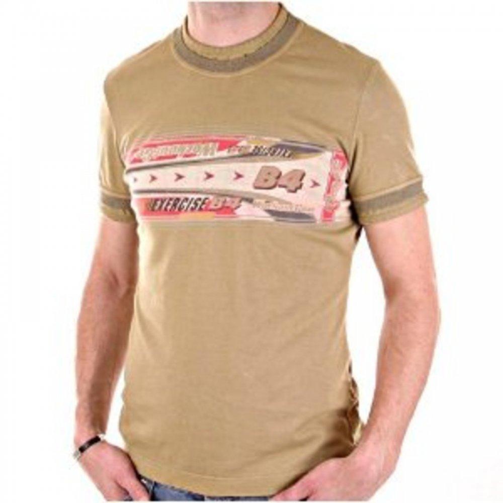 dc88a797 D&G DOLCE & GABBANA Washed Khaki Crew Neck Short Sleeve Slim Fit T-Shirt ...