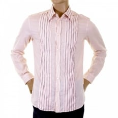 Washed Pale Pink Striped Insert Fitted Shirt