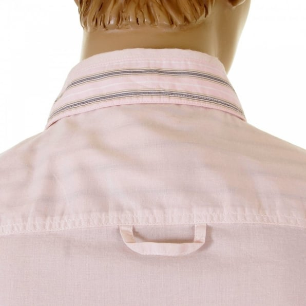 D&G DOLCE & GABBANA Washed Pale Pink Striped Insert Fitted Shirt