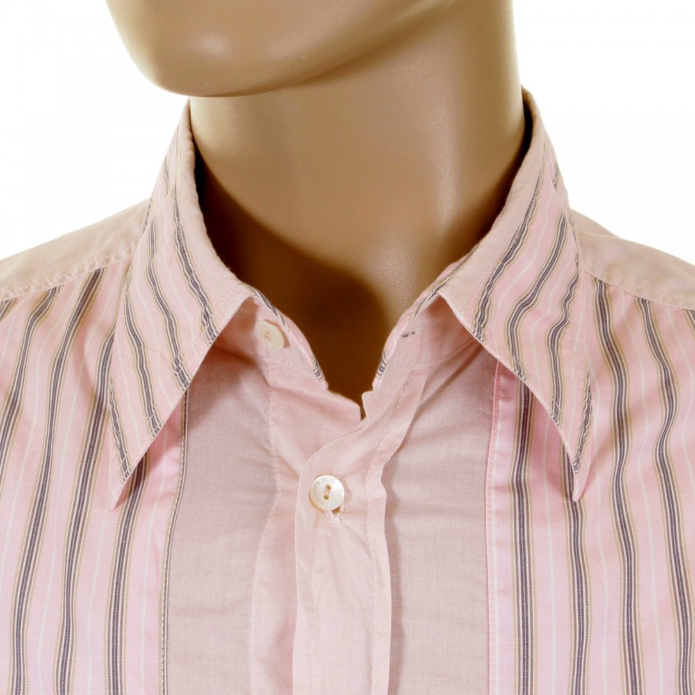 D G Dolce Gabbana Washed Pale Pink Striped Insert Ed Shirt