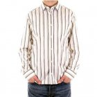 White Long Sleeve Striped Fitted Shirt