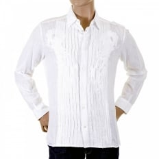 White Pleated Fitted Long Sleeve Shirt
