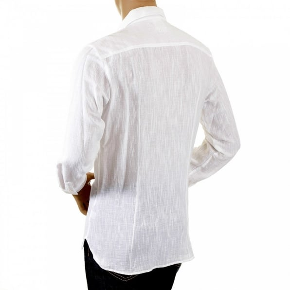 D&G DOLCE & GABBANA White Pleated Fitted Long Sleeve Shirt