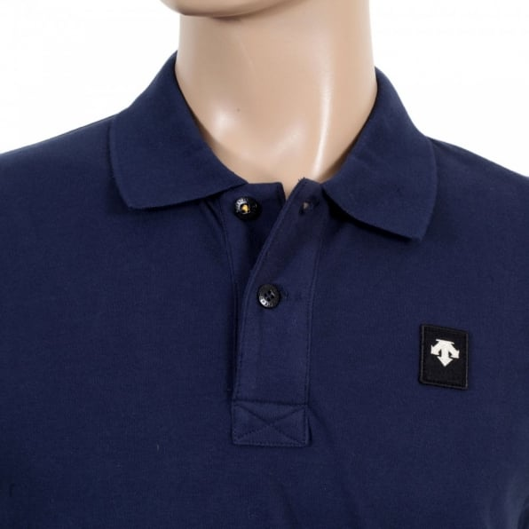 DESCENTE Mens Cotton Classic Fit Polo Shirt in Navy
