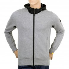 Mens Grey Marl Zip Hooded Sweatshirt