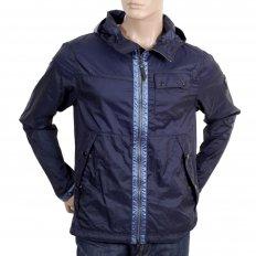 Mens Navy Nylon Lightweight Regular Fit Jacket