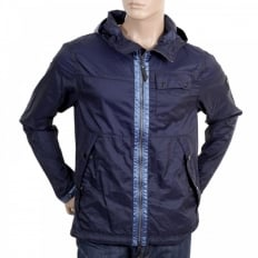 Mens Navy Nylon Lightweight Regular Fit Jacket
