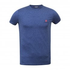 Dsquared2 Crew Neck Short Sleeve Cotton Slim Fit Blue T-Shirt with Printed Maple Leaf Logo on Chest