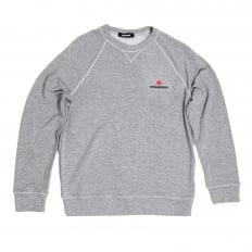Mens Crew Neck Raglan Sleeve Grey Sweatshirt with Maple Leaf and Text DSquared Logo Branding DSQU6280