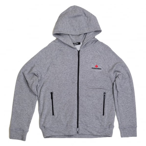 DSQUARED2 Mens Hooded Zipped Front Sweatshirt in Grey by DSquared with Logo Applique DSQU6278
