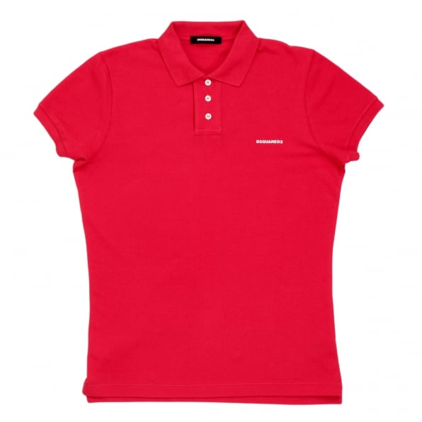 DSQUARED2 Mens Pique Short Sleeve Three Button Cotton Polo Shirt in Red with White Brand Text Logo and Chest