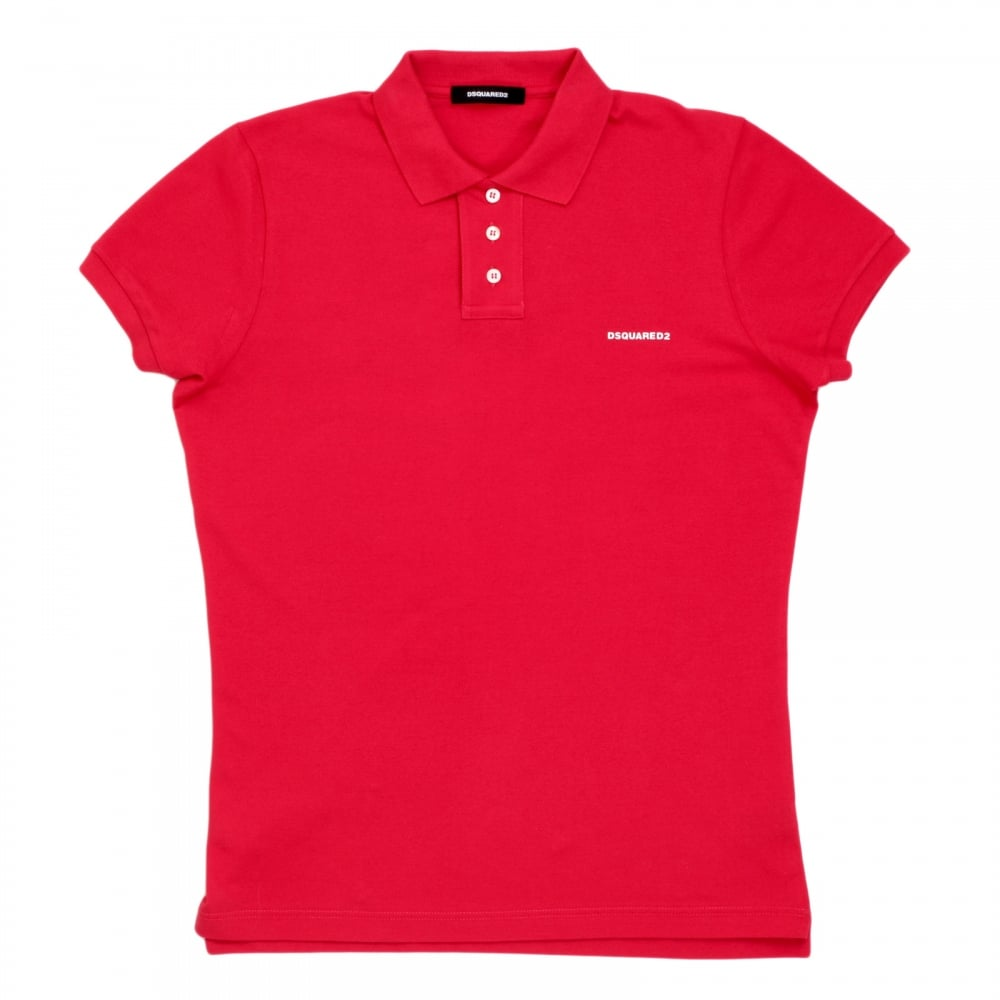 0a8ac2ad6c687 DSQUARED2 Mens Pique Short Sleeve Three Button Cotton Polo Shirt in Red  with White Brand Text ...