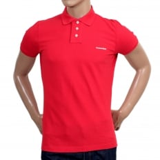 Mens Pique Short Sleeve Three Button Cotton Polo Shirt in Red with White Brand Text Logo and Chest