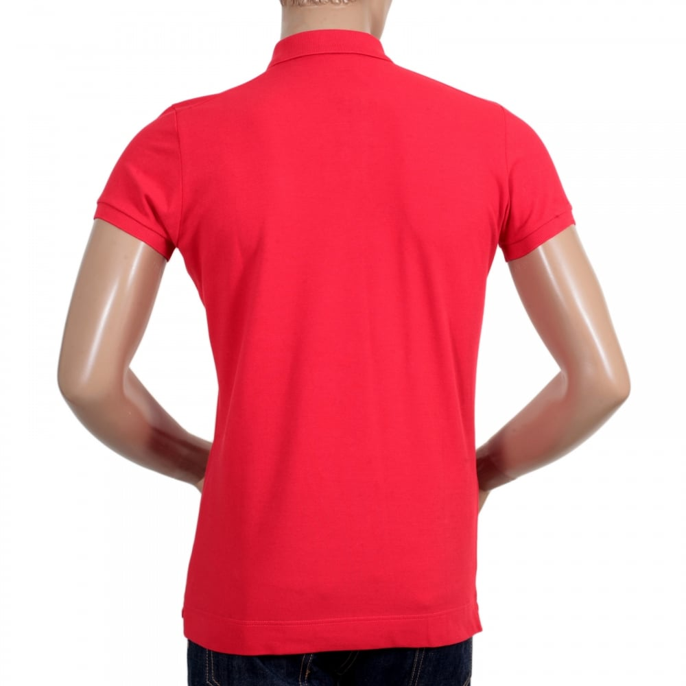 24d726440b685 ... DSQUARED2 Mens Pique Short Sleeve Three Button Cotton Polo Shirt in Red  with White Brand Text ...