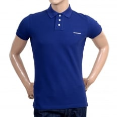 Mens Short Sleeve Cotton Pique Blue Polo Shirt with White Brand Chest Text Logo and Ribbed Collar