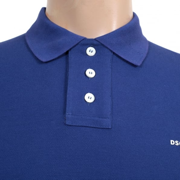 DSQUARED2 Mens Short Sleeve Cotton Pique Blue Polo Shirt with White Brand Chest Text Logo and Ribbed Collar
