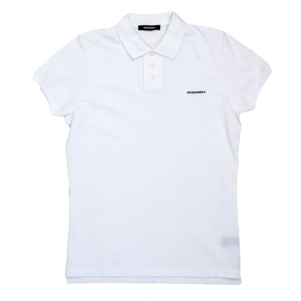 DSQUARED2 Mens Short Sleeve Regular Fit Cotton Made Three Button Polo Shirt in White with Extra Button Under Collar