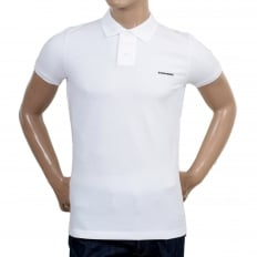 Mens Short Sleeve Regular Fit Cotton Made Three Button Polo Shirt in White with Extra Button Under Collar