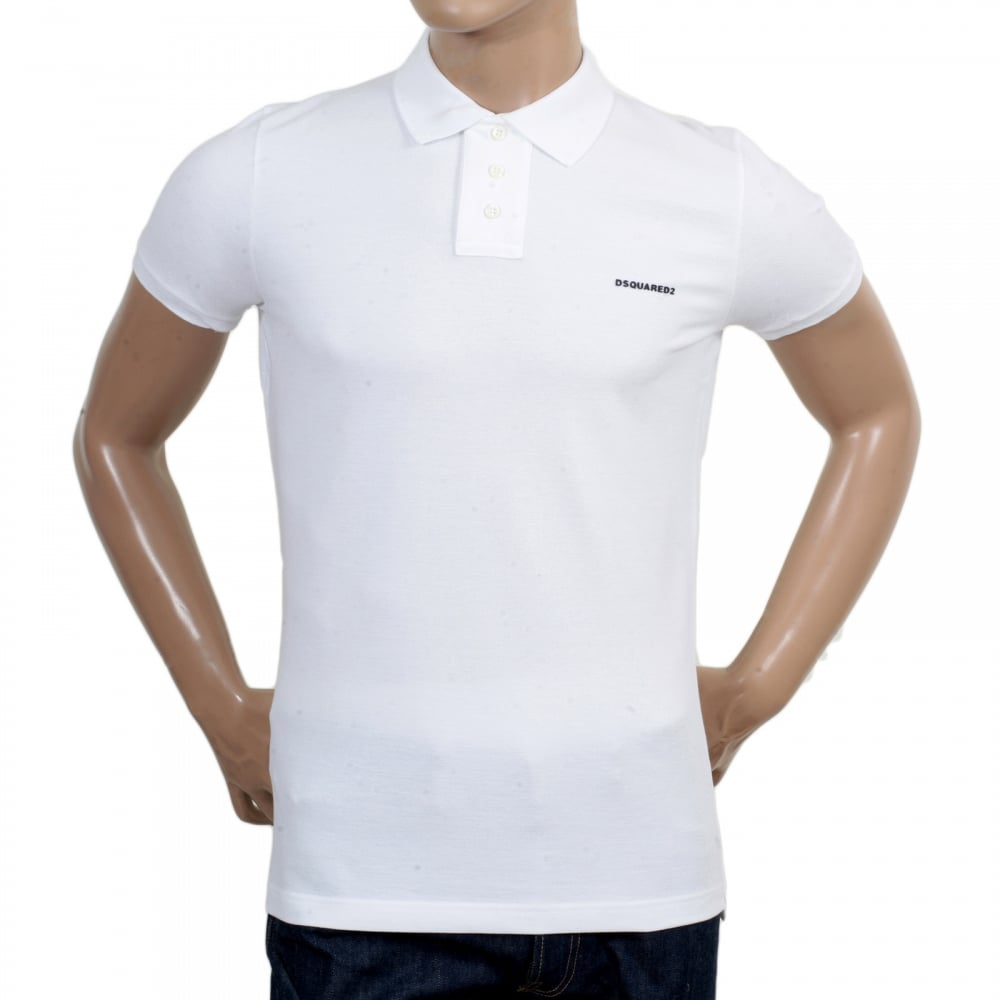 Buy mens short sleeve white polo shirt from dsquared2 for Men s regular fit shirts