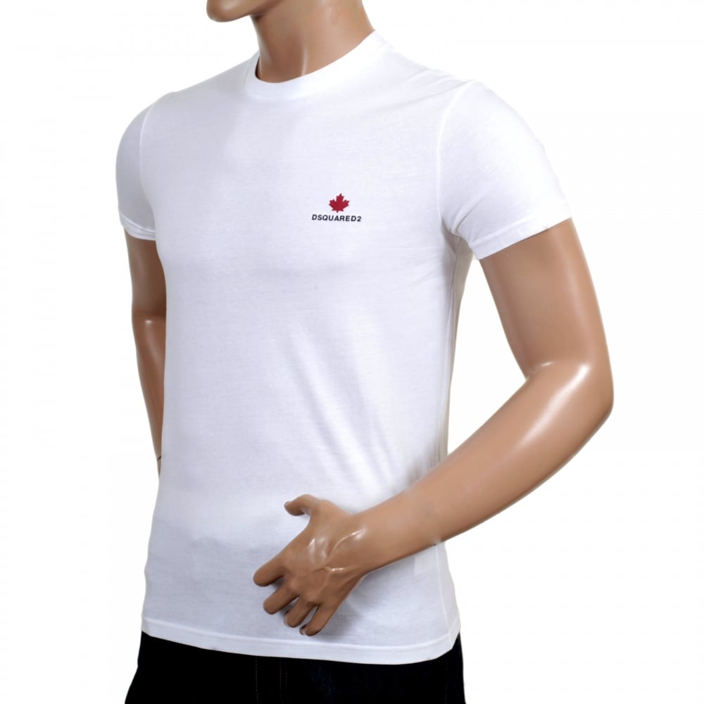 52d229e6774f ... DSQUARED2 Mens White Short Sleeve Cotton Crew Neck T Shirt with Maple  Leaf and Black Text ...