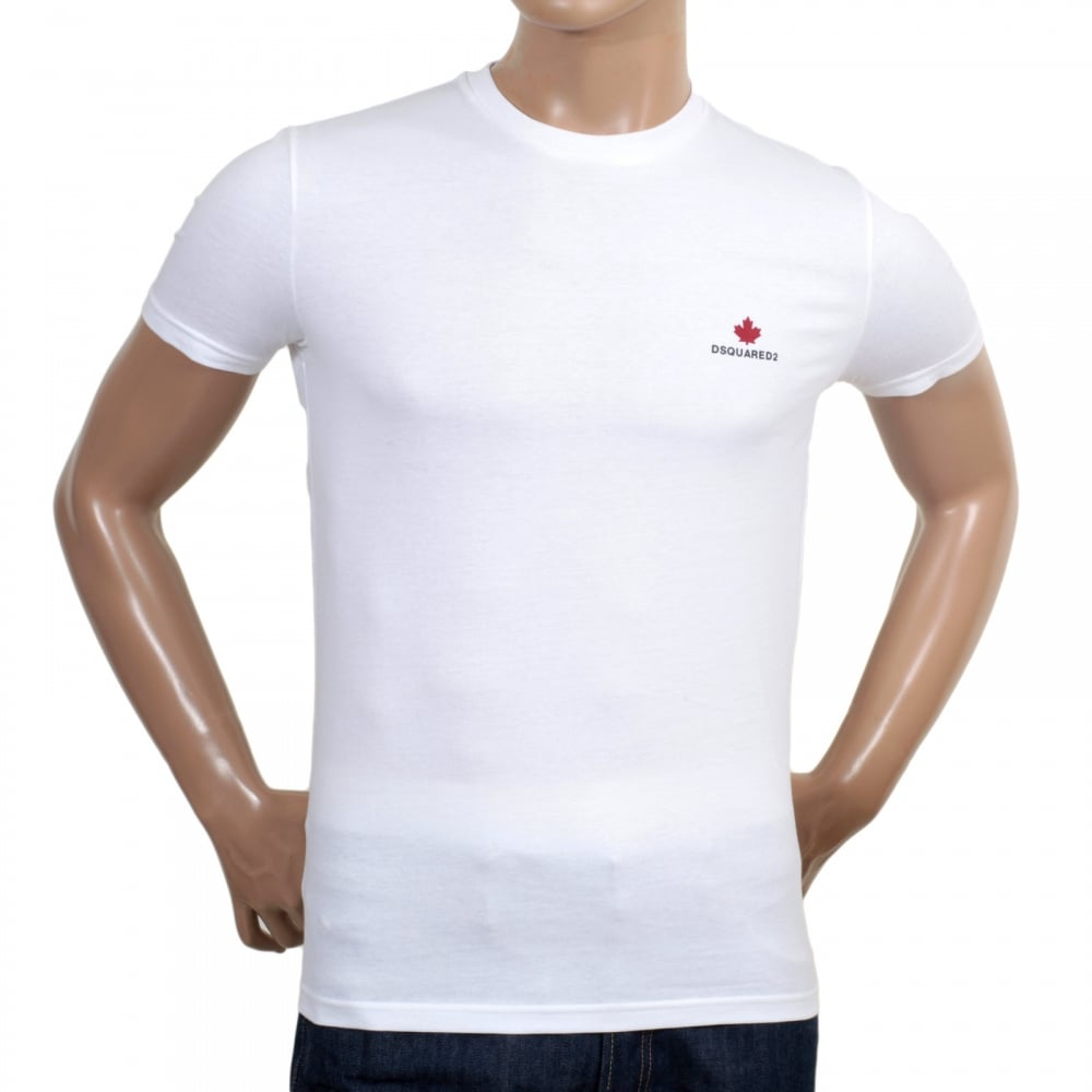 10bb64ab4c1f DSQUARED2 Mens White Short Sleeve Cotton Crew Neck T Shirt with Maple Leaf and  Black Text Chest Logo