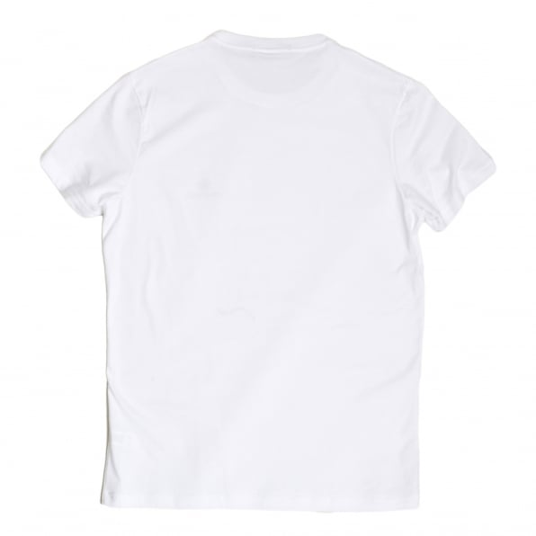 DSQUARED2 Mens White Short Sleeve Cotton Crew Neck T Shirt with Maple Leaf and Black Text Chest Logo