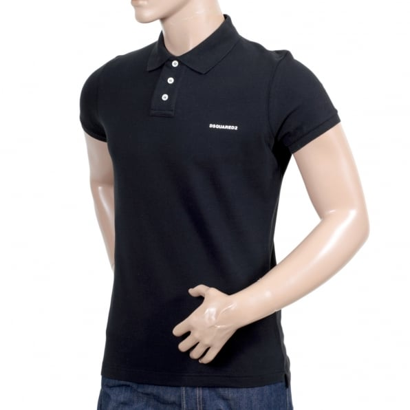 DSQUARED2 Short Sleeve Cotton Made Pique Black Polo Shirt with White Brand Chest Text Logo and Ribbed Collar