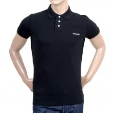 Short Sleeve Cotton Made Pique Black Polo Shirt with White Brand Chest Text Logo and Ribbed Collar