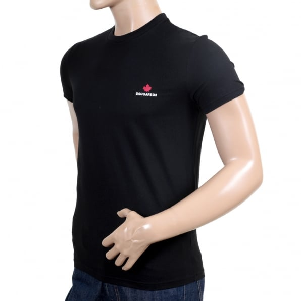 DSQUARED2 Short Sleeve Regular Fit Cotton Made Crew Neck T-shirt in black with Maple Leaf Chest Logo