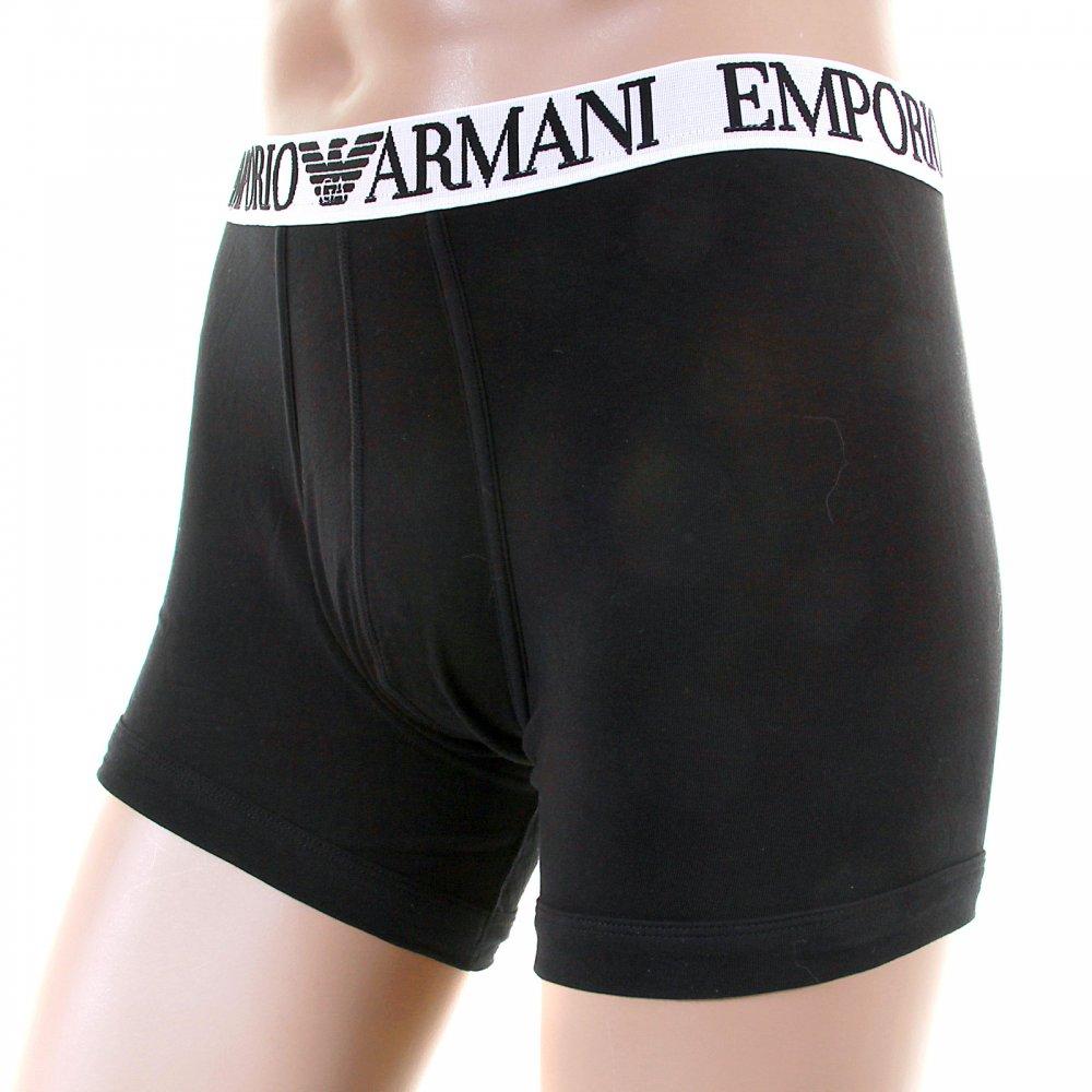 3687b03a7831 ... EMPORIO ARMANI Black Stretch Cotton Boxer With White Waistband ...