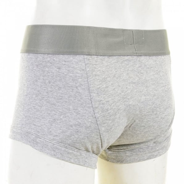 EMPORIO ARMANI Marl Grey Stretch Cotton Trunk with Grey Waistband