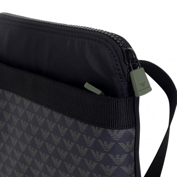 EMPORIO ARMANI Mens Jacquard Logo Front PVC Made Nylon Finish Y4M168 YKS4V Black Messenger Bag with Inner Pouch for Mobile