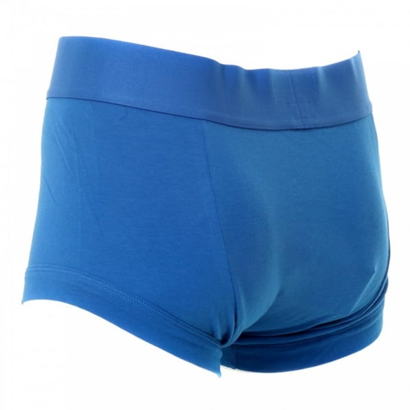 EMPORIO ARMANI Royal Blue Stretch Cotton Trunk With Royal Blue Waistband