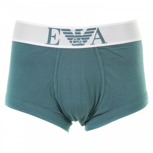 EMPORIO ARMANI Smokey Blue Stretch Cotton Trunk With White Waistband