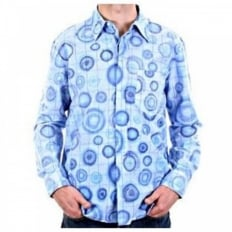 Blue long sleeve casual shirt