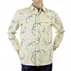 Cream Shirt with Blue Print and Embroidery