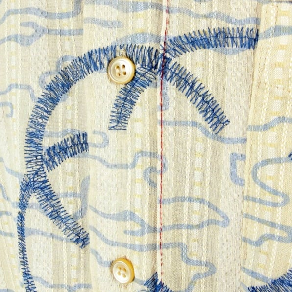 ETIENNE OZEKI Cream Shirt with Blue Print and Embroidery