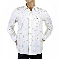 Go in circles! Designer White Stitched Shirt
