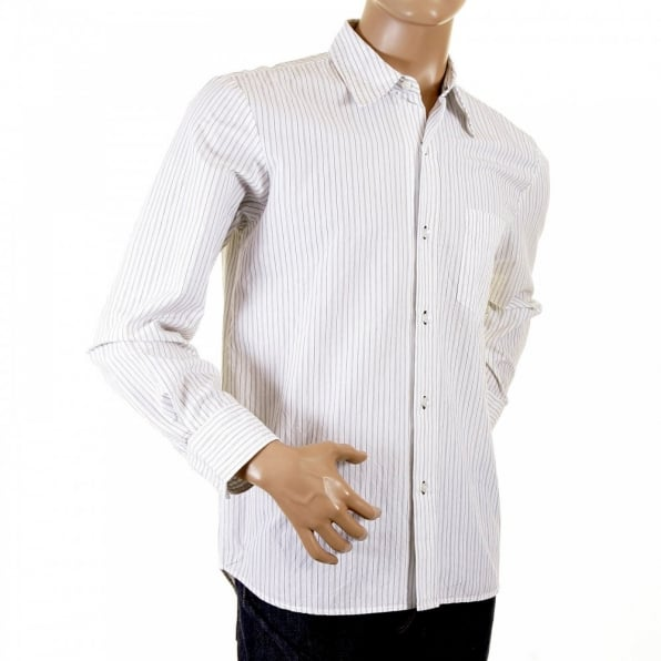 ETIENNE OZEKI White shirt with black pinstripes