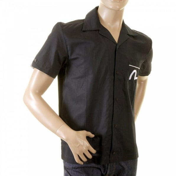 EVISU Authentic and Rare Black Short Sleeve Shirt with SIZZLING HOT DENIM DINNER Design
