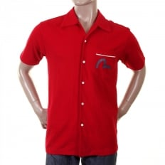 Authentic and Rare Red Shirt with 24 HOUR DENIM LAUNDRY Design