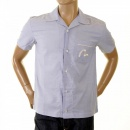 EVISU Authentic and Rare Sky Blue Shirt with 24 HOUR LOOM SERVICE Design