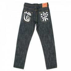Dark Indigo Slim Cut Painted Pocket Jeans
