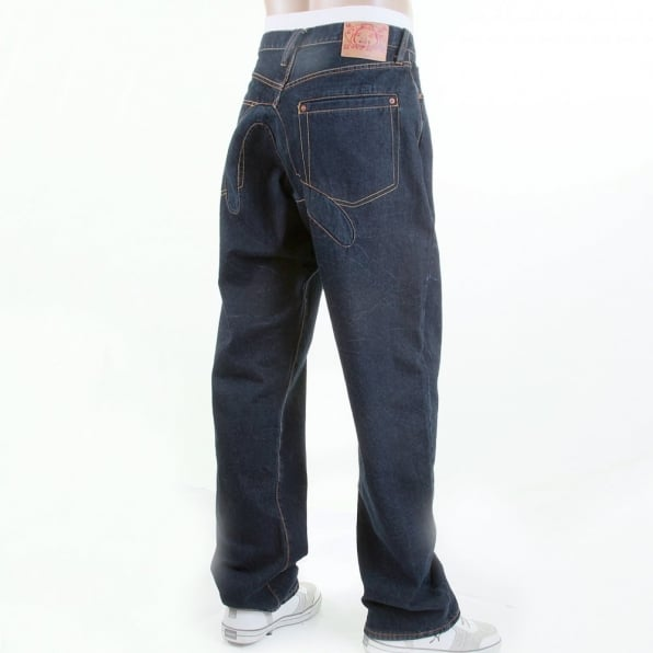 EVISU Dark Indigo Vein Wash Vintage Cut Denim